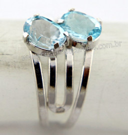 Anel 2 Pedras Topazio Azul Extra Gemas Facetado Prata 950 Aro Ajustavel Reff 15.3