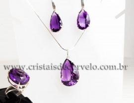 Luxuoso Conjunto Gemas Ametista Extra Prata 950 111591