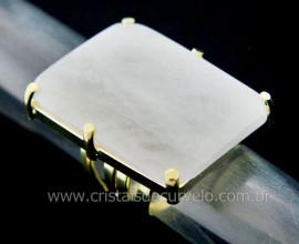 Anel Quartzo Leitoso Retangulo Grande Pedra natural de Garimpo Banho Flash Dourado Aro Ajustavel