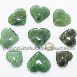 05 Coração Pedra Quartzo Verde Natural 4.7 a 6.5cm ATACADO