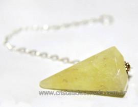 Pêndulo Facetado Pedra Enxofre Para Radiestesia Reff 110663