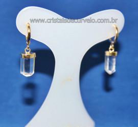 Brinco Argola com Pontinha Cristal Montagem Dourada Reff 107858