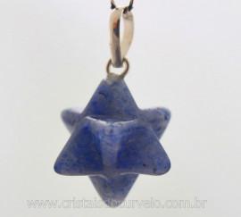 Merkaba Pedra Quartzo Azul Extra Pingente Argola Pino Prata 950
