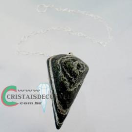 Pendulo CRISOTILO Pedra Natural P Radiestesia Lapidação Facetado Brinde Corrente