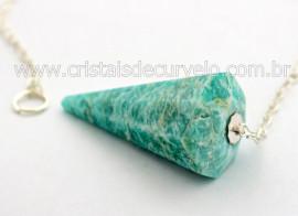 Pendulo AMAZONITA Pedra Natural P Radiestesia Lapidação Facetado Brinde Corrente