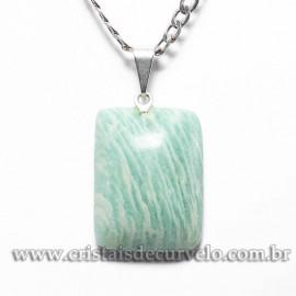 Pingente Retangular Pedra AMAZONITA Pino e Presilha Prateado