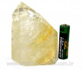 Ponta Cristal Hematoide Pedra com Rajas Amarelo Cod PH7815
