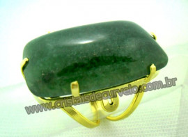 Anel Quartzo Verde Cabochão Retangular Pedra Natural Montagem Banho Flash Dourado Aro Ajustavel