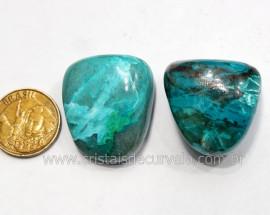 02 Crisocola Rolada Pedra Natural Mineral Nativo do Cobre para Colecionador Ref 26.7
