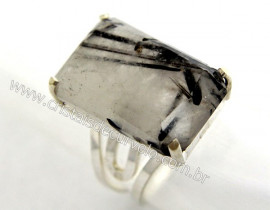 Anel Prata 950 Pedra Especial Turmalina Incrustada Montado em Prata de Lei Ajustavel Cod 38.2