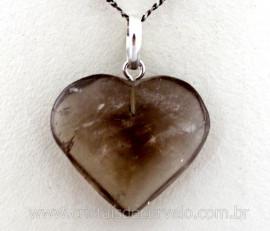 Pingente Coração Pedra FUME Castoação Prata 950 Pino e Perinha