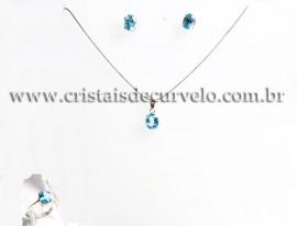 Conjunto colar Gema Topazio Londom Blue Prata 950 cod 111584