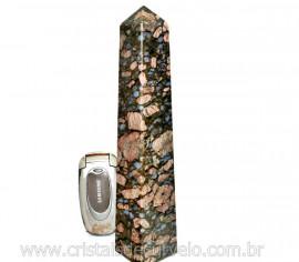 Obelisco de Rocha Vulcanica Riolita Pedra Natural com Lapidação Manual Cod 684.7