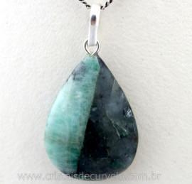 Pingente Gota Pedra Esmeralda Natural Castoação Prata 950 Pino e Perinha