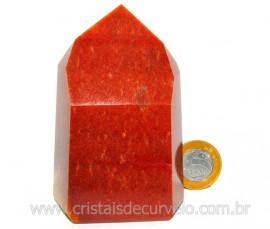 Ponta Quartzo Vermelho Pedra Natural de Garimpo Cod PQ1019