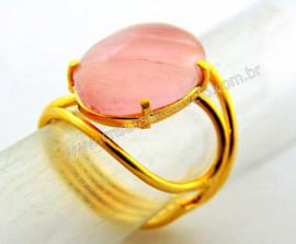 Anel Quartzo Rosa Cabochão Oval Pequeno Dourado REFF CP3786