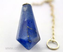 Pendulo Pedra Quartzo Azul Piramidal Lapidado Invertido Montado Corrente