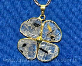 Pingente Trevinho Cristal Turmalina Incrustada Dourado