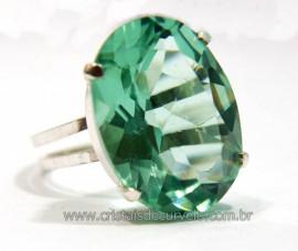 Anel Especial Cabochão Facetado Obsidiana Verde na Garra Prata 950 Reff AP8906