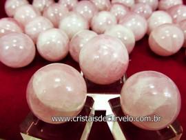03 Mini Bola Quartzo Rosa Esfera Pequena Em Pedra Natural KIT