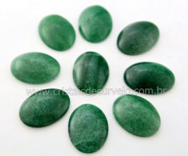 100 Cabochao Oval pra Pingente Pedra Quartzo Verde Lapidado Calibrado 18 x 25 MM