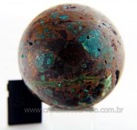 Esfera Malaquita Pedra Rara e Natural Mineral de Rocha Lapidado Manual Cod 343.4