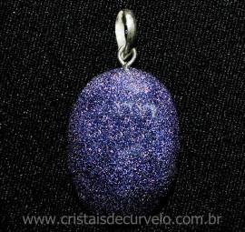 Pingente Cabochão Pedra Estrela Azul Prata 950 Pino e Perinha