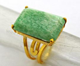 Anel Amazonita Verde Facetado Pedra natural de Garimpo Banho Flash Dourado Aro Ajustavel REFF 35.7