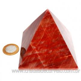 Pirâmide GRANDE Pedra Aragonita Vermelha Natural Queops 119028