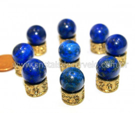 3 Bolinha Pedra Lapis Lazuli Natural 14mm Sem Furo REF BS3583