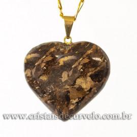Pingente CORAÇÃO BRONZITA Pedra Natural Castoação Banhado Dourado