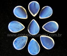 10 Gota Pedra da Lua Opalina Ranhurado Pra Montagem REFF GR3983