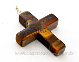 Crucifixo Pedra Olho de Tigre Pingente Cruz Pedra Natural Pino e Presilha Banho Flash Prata
