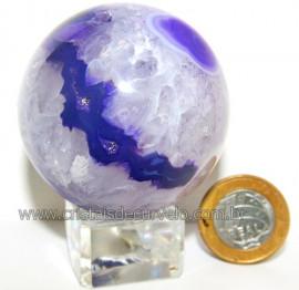 Esfera Agata Geodo Tamanho Pequeno Lapidado Manual Cod 109359