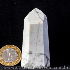Ponta Howlita Natural Lapidaçao Gerador Sextavado Cod 113644