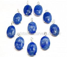 5 Pingente Cabochão Quartzo Azul Prata 950 Garra REFF CP8034