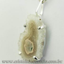 Pingente Flor de Ametista Pedra Natural Garra Prateado 120622