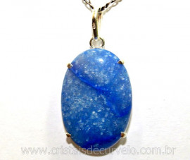 Pingente Cabochão Quartzo Azul Prata 950 Garra REFF PC7156