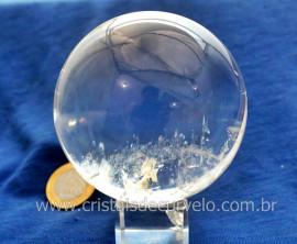 Esfera Bola de Cristal Pedra Quartzo Extra Transparente Tamanho M Cod 636.6