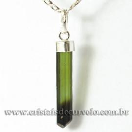Pingente Canudo TURMALINA VERDE Pedra Bruto Prata 950 Cod 125100