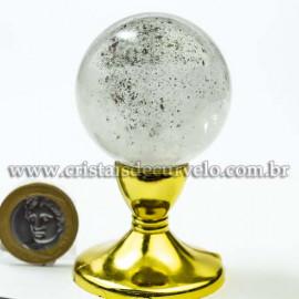 Bola Cristal Inclusão Lodolita Natural Esfera Especial 120465