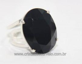 Anel Especial Cabochão Facetado Obsidiana Negra na Garra Prata 950 Reff AP9642