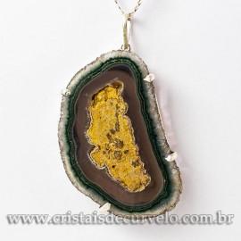 Pingente Flor de Ametista Pedra Natural Garra Prateado 112921
