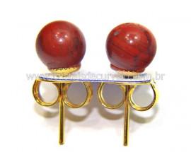 Brinco Bolinha Pedra Jaspe Vermelho Banho Dourado REF BB8204