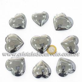 05 Coração Pedra Hematita Natural 4.7 a 6.5cm ATACADO