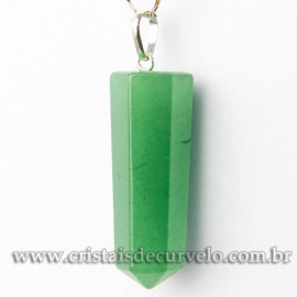 Pingente Pontinha Pedra Quartzo Verde Presilha Pino PRATA 950