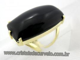 Anel Onix Preto Cabochão Retangular Pedra Natural Montagem Banho Flash Dourado Aro Ajustavel