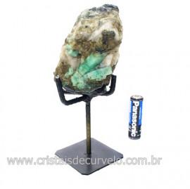 Esmeralda Canudo Pedra Natural com Suporte De Ferro Cod 121535