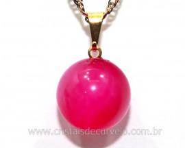 Pingente Bolinha Pedra Agata Rosa Pino Dourada