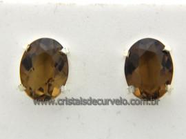 Brinco Prata 950 Pedra Andaluzita Oval Facetado Trava Tarracha